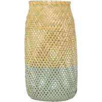 Bloomingville Glass and Rattan Lantern - Natural with Succulent