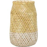 Bloomingville Glass and Rattan Lantern - Natural with Kit