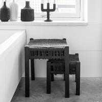 Pair of Knotted Rope Stools - Black