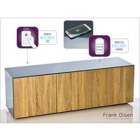 High Gloss Grey and Oak TV Cabinet 150cm with Wireless Phone Charging and Remote Control Eye