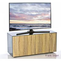 High Gloss Grey and Oak TV Cabinet 110cm with Wireless Phone Charging and Remote Control Eye