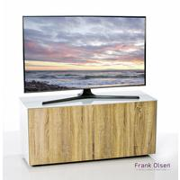 High Gloss White and Oak TV Cabinet 110cm with Wireless Phone Charging and Remote Control Eye