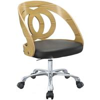 Jual Retro Swivel Office Chair Black Seat PC606 - Walnut or Oak