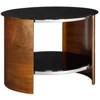 Jual Round Modern Lamp Table with Glass Top JF303 - Walnut or Oak