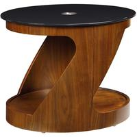 Jual Modern Z-Shape Oval Coffee Table Glass Top JF304 - Walnut or Oak