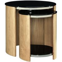 Jual Modern Nest of Tables with Glass Top JF305 - Walnut or Oak