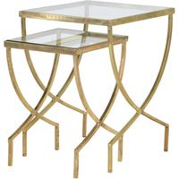 Nesting Greek Curve Side Tables Metal and Glass