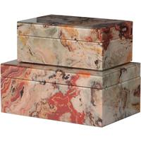 Set of 2 Marble Effect Storage Boxes
