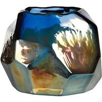 Iridescent Glass Squat Candle Holder