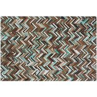 AMASYA Parquet Cowhide Rug Brown, Beige and Turquoise