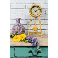 Vintage Clock on Legs Yellow Distressed