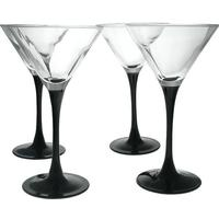 4 x Black Stem Cocktail Martini 260ml Glasses