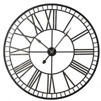 Ornate Roman Numeral Wall Clock Black Iron