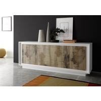 Luna Four Door Sideboard - Matt White/Natural by Andrew Piggott Contemporary Furniture