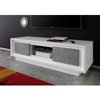 Luna Two Door TV Stand - Matt White/Grey