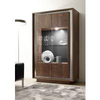 Luna Two Door Display Cabinet inc.LED Spot Light - Cognac Finish