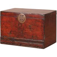 Red Lacquer Painted Blanket Box by Shimu