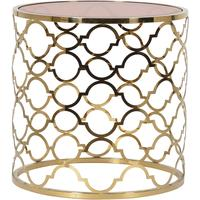 Ethnic Side Table with Brown Glass Top by Out There Interiors