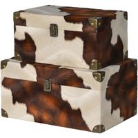 Set of 2 Faux Cowhide Storage Boxes