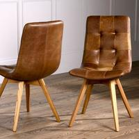Allegro Brown Cerato Leather Dining Chair by The Orchard