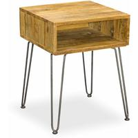 Hairpin Side Table Mango Wood and Steel