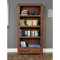 Shiro Walnut Large 2 Drawer Bookcase by Baumhaus Furniture