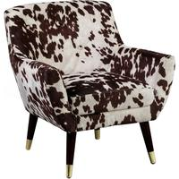 Faux Cowhide Armchair Brown and White Dalmatian Pattern