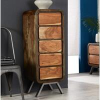 Aspen 5 Drawer Retro Indian Tallboy Chest Reclaimed