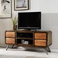 Aspen Retro Indian 4 Drawer TV and Plasma Media Unit Reclaimed
