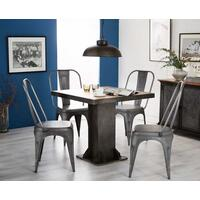 Evoke Square Dining Table Reclaimed Metal and Wood