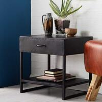 Metalica 1 Drawer Reclaimed Iron Lamp Table