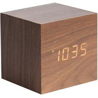 Karlsson Cube LED Alarm Clock - Dark Wood
