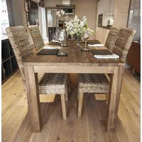 Monjong 200cm Reclaimed Wood Dining Table with 8 Banana Leaf Chairs
