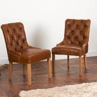 Castello Chair Buttoned Aniline Leather or Fabric
