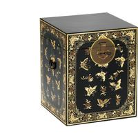 Oriental decorated black trunk by The Nine Schools