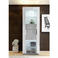 Napoli Display Cabinet - White Gloss/Grey Finish with LED Spotlights