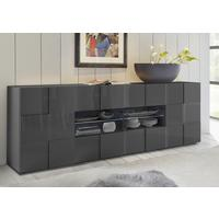 Treviso Long Sideboard - Two Doors/Four Drawers High Gloss Grey Finish by Andrew Piggott Contemporary Furniture