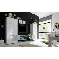 Sorriso High TV Unit Inc. LED Light - White Gloss with Grey/Black/Natural Lacquer by Andrew Piggott Contemporary Furniture