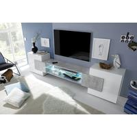 Sorriso Low TV Unit Inc. LED Light - White Gloss with Grey/Black/Natural Lacquer by Andrew Piggott Contemporary Furniture