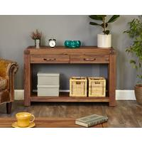 Shiro Walnut Console Table 2 Drawer Rustic