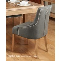 Slate Grey Upholstered Dining Chair with Oak Legs - Pack Of Two