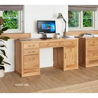 Mobel Solid Oak Modern Computer Desk Twin Pedestal