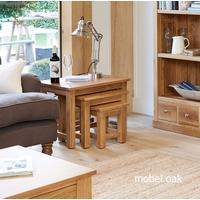 Mobel Oak Nest of 3 Coffee Tables by Baumhaus Furniture