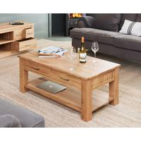Mobel Oak Modern Coffee Table with 4 Drawers