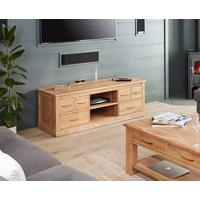 Mobel Oak Widescreen TV Cabinet 6 Drawers Modern Design