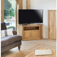 Mobel Oak Corner Television Cabinet by Baumhaus Furniture