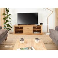 Mobel Solid Oak Mounted Widescreen TV Cabinet Modern Design