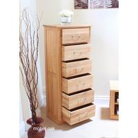 Mobel Oak Tallboy (6 Drawer) by Baumhaus Furniture