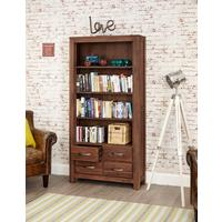 Mayan Walnut Large Bookcase 4 Drawer Rustic Design