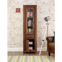 Mayan Walnut Narrow Glazed Bookcase by Baumhaus Furniture